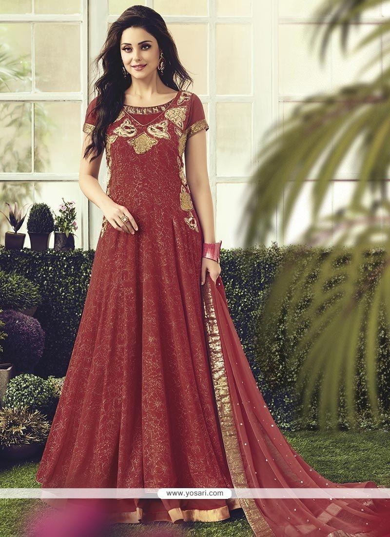 Swanky Maroon Readymade Anarkali Salwar Suit