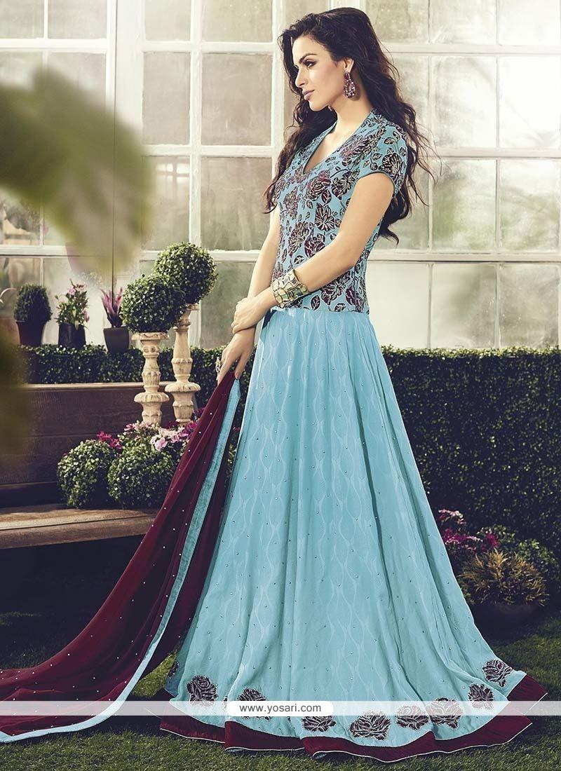 Dilettante Cotton Resham Work Readymade Anarkali Salwar Suit