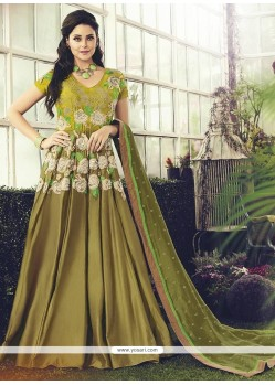 Impressive Green Embroidered Work Readymade Anarkali Salwar Suit