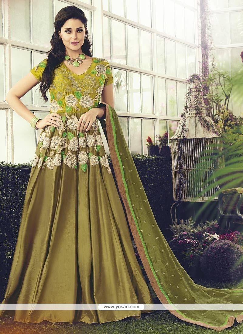 Impressive Green Embroidered Work Readymade Anarkali Salwar Suit