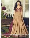 Glitzy Rayon Beige Readymade Anarkali Salwar Suit