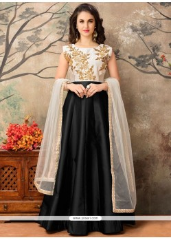 Blissful Tafeta Silk Black Embroidered Work Floor Length Anarkali Suit