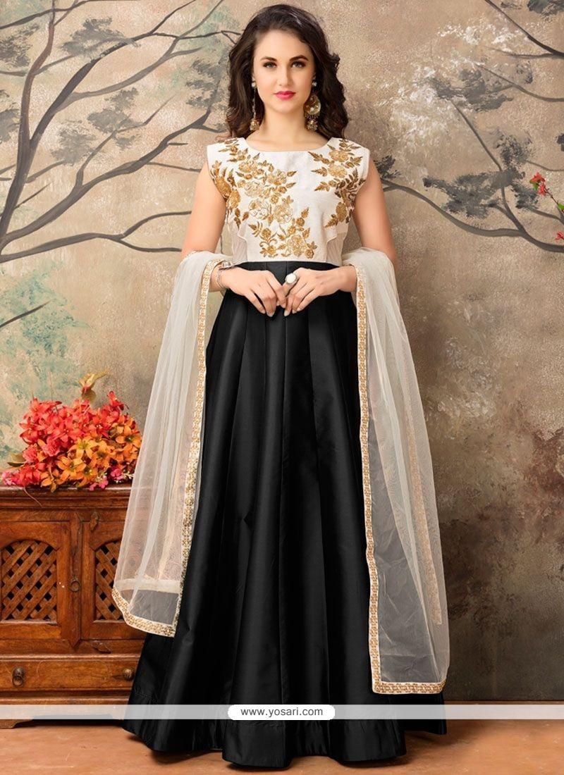 Blissful Tafeta Silk Black Embroidered Work Floor Length Anarkali Suit