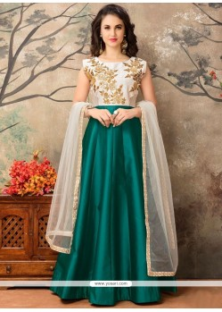 Princely Embroidered Work Floor Length Anarkali Suit