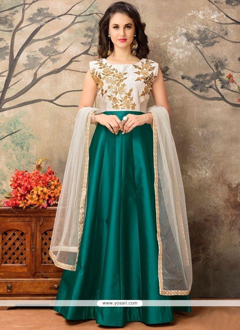 Princely Embroidered Work Floor Length Anarkali Suit