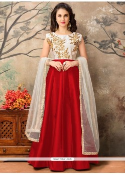 Titillating Tafeta Silk Floor Length Anarkali Suit