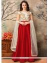 Titillating Tafeta Silk Floor Length Anarkali Suit