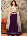Outstanding Embroidered Work Tafeta Silk Purple Floor Length Anarkali Suit