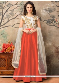 Strange Orange Embroidered Work Tafeta Silk Floor Length Anarkali Suit