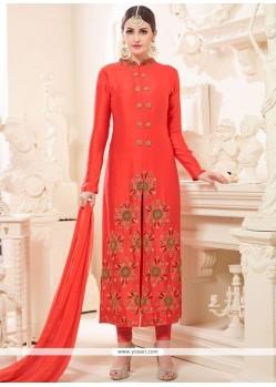 Embroidered Art Silk Churidar Designer Suit In Orange