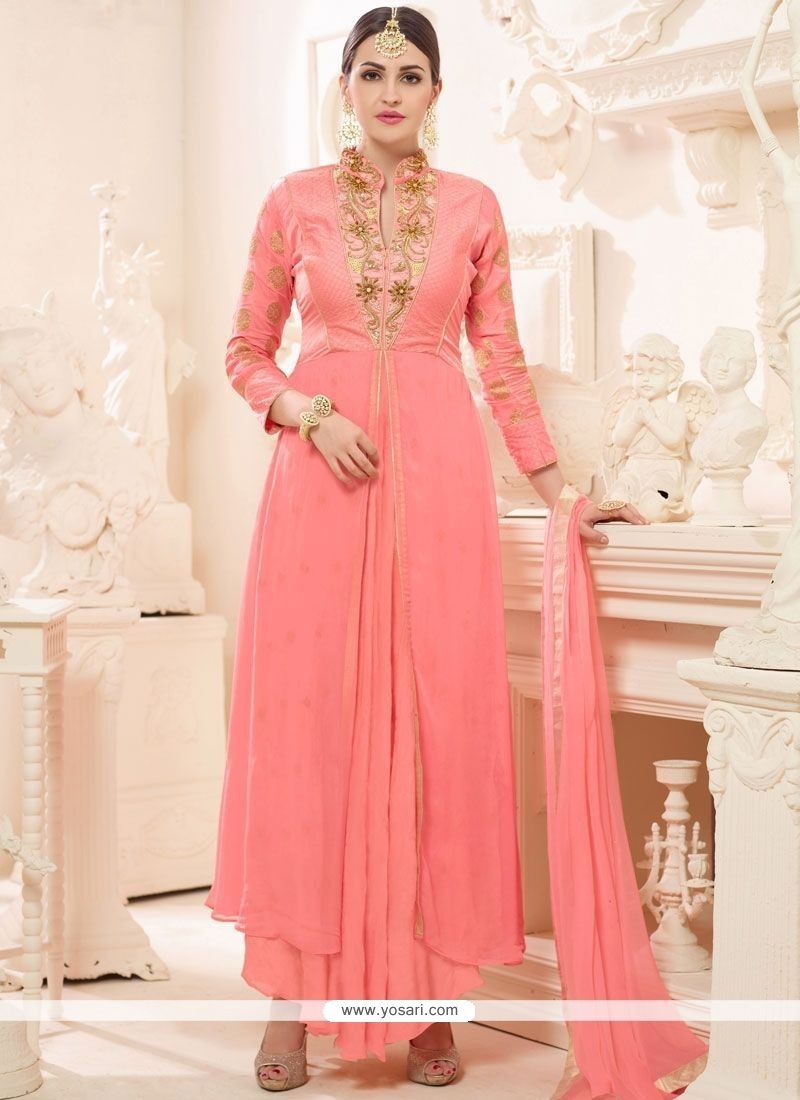 Innovative Peach Embroidered Work Faux Georgette Designer Suit