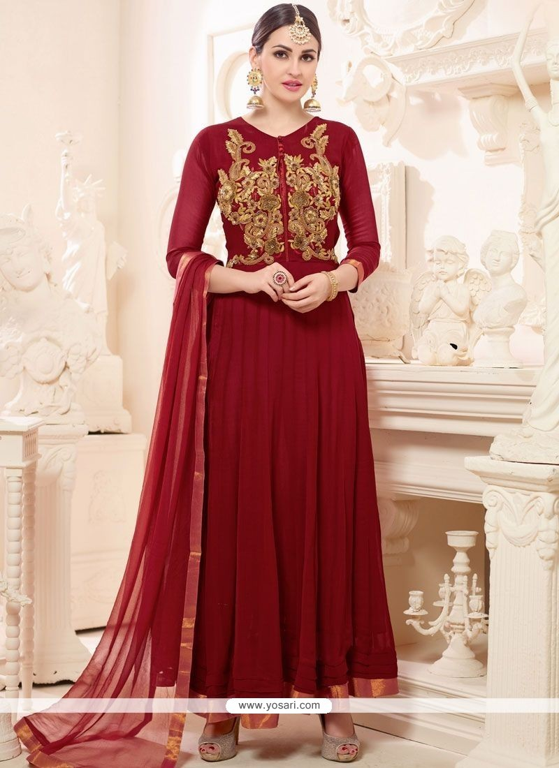 Invaluable Faux Georgette Embroidered Work Anarkali Suit