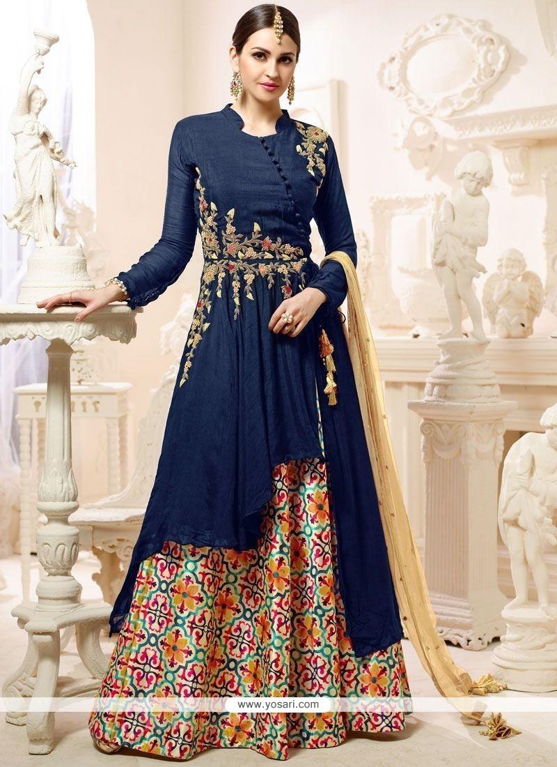 Delightsome Navy Blue Embroidered Work Banglori Silk Long Choli Lehenga
