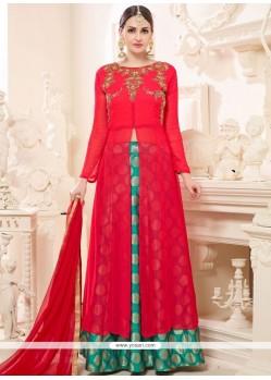 Dignified Hot Pink And Red Resham Work Jacquard Long Choli Lehenga