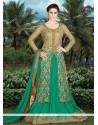Swanky Beige And Green Art Silk Long Choli Lehenga