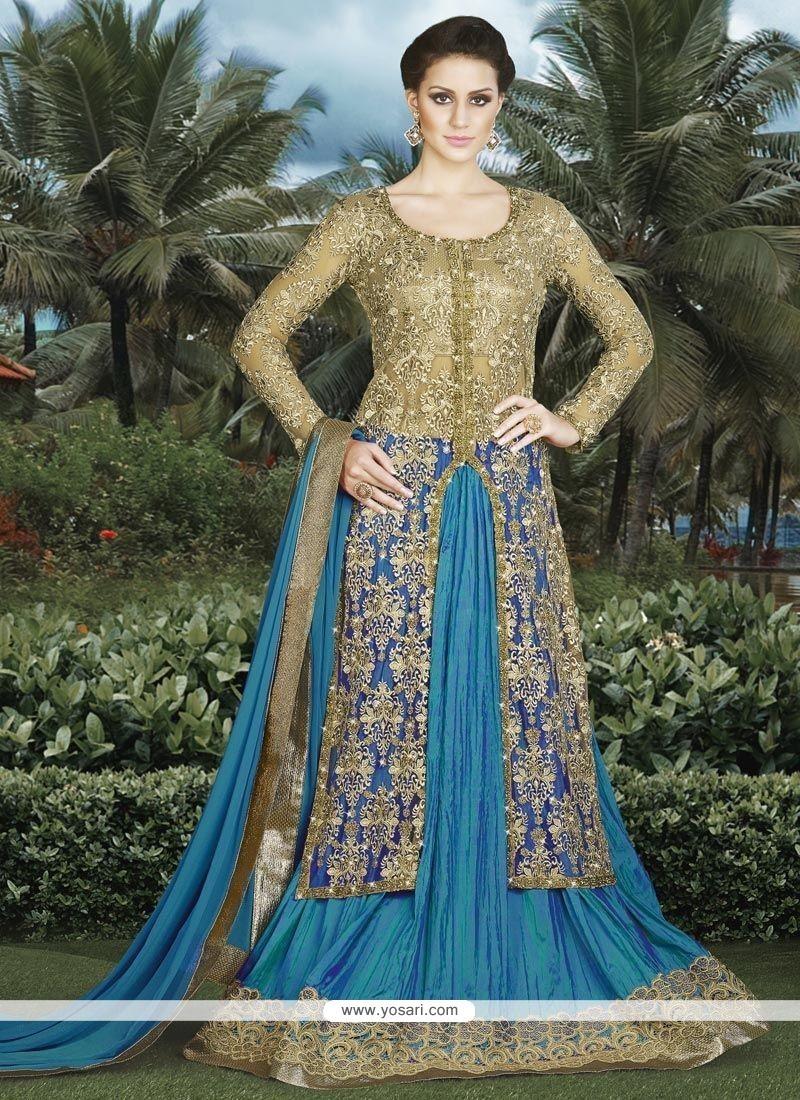 Outstanding Net Beige And Blue Long Choli Lehenga