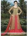 Fabulous Net Beige And Rose Pink Long Choli Lehenga