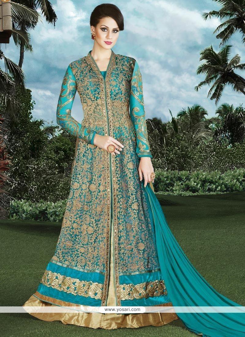Perfervid Beige And Turquoise Embroidered Work Long Choli Lehenga