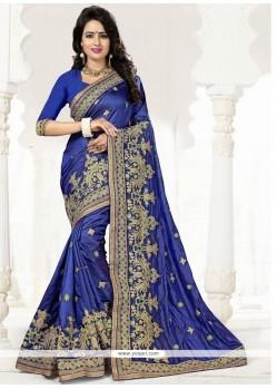 Distinctively Crepe Silk Blue Designer Traditional Saree