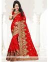 Amusing Embroidered Work Art Silk Traditional Designer Saree