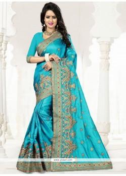 Sightly Art Silk Blue Zari Work Designer Traditional Saree