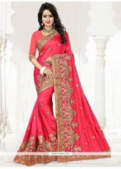 Capricious Resham Work Rose Pink Designer Traditional Saree