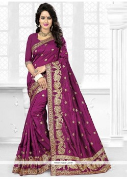 Incredible Resham Work Art Silk Traditional Saree