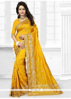 Voguish Art Silk Yellow Traditional Designer Saree