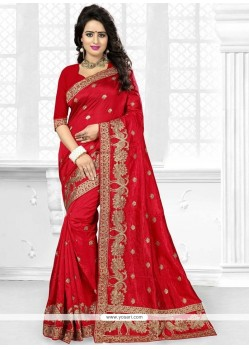 Sumptuous Red Art Silk Designer Traditional Saree