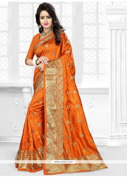 Vivacious Orange Embroidered Work Art Silk Traditional Saree