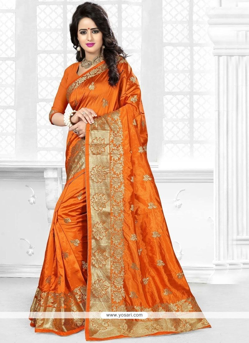 Vivacious Orange Embroidered Work Art Silk Traditional Saree