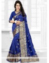 Impeccable Blue Embroidered Work Art Silk Traditional Designer Saree