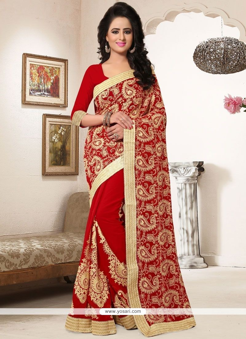 Lively Faux Georgette Red Patch Border Work Classic Designer Saree