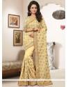 Innovative Embroidered Work Cream Designer Saree