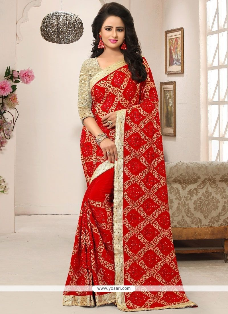Sonorous Red Patch Border Work Faux Crepe Designer Saree