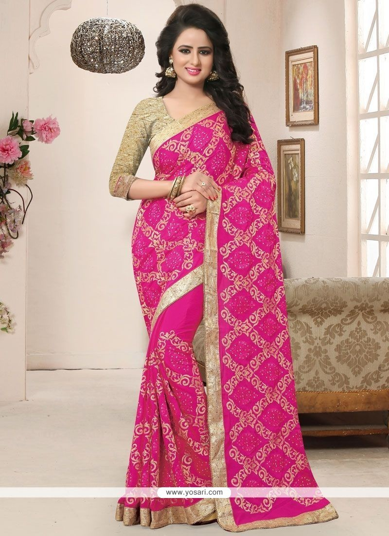 Charming Pink Embroidered Work Faux Crepe Classic Designer Saree