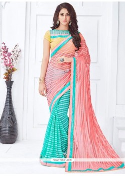 Magnetic Patch Border Work Net Half N Half Saree