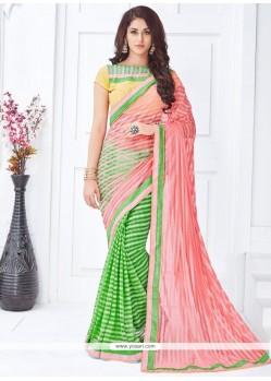Piquant Green And Pink Half N Half Saree