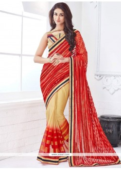 Immaculate Lace Work Faux Chiffon Designer Half N Half Saree