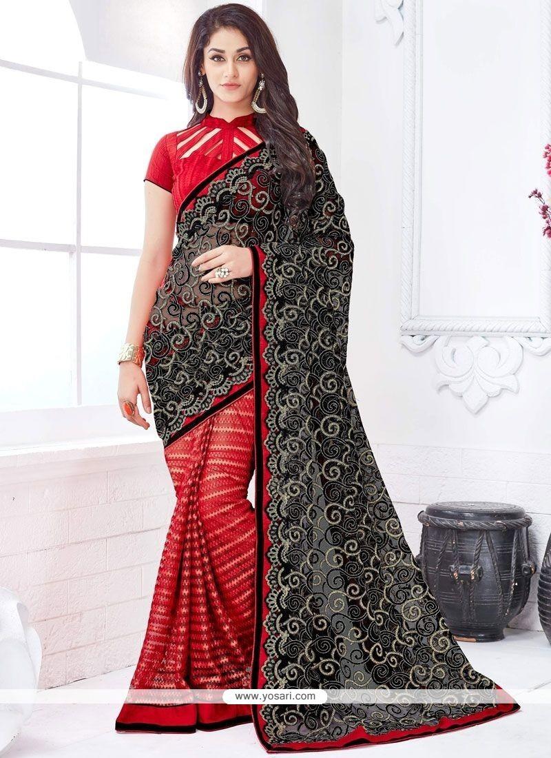 Orphic Black And Red Print Work Net Designer Half N Half Saree