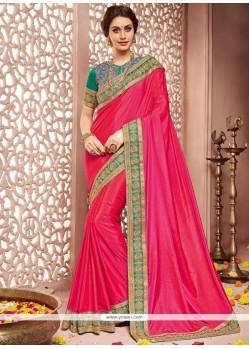 Excellent Embroidered Work Hot Pink Designer Traditional Saree