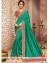 Glossy Patch Border Work Art Silk Traditional Saree