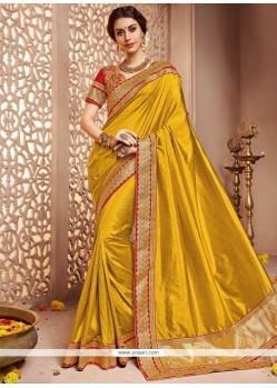 Gripping Art Silk Mustard Traditional Designer Saree