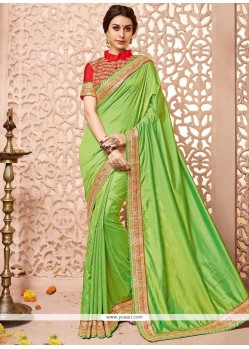 Cute Art Silk Green Patch Border Work Designer Traditional Saree