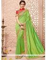 Cute Art Silk Green Patch Border Work Designer Traditional Saree