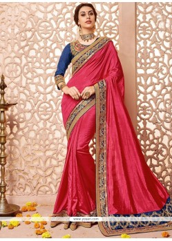 Auspicious Hot Pink Embroidered Work Designer Traditional Saree
