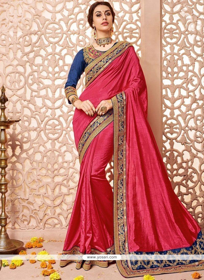 Auspicious Hot Pink Embroidered Work Designer Traditional Saree