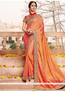 Orange Patch Border Work Art Silk Designer Traditional Saree