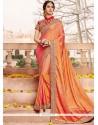 Orange Patch Border Work Art Silk Designer Traditional Saree