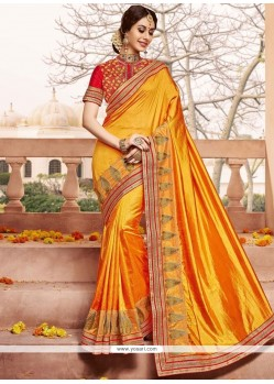 Tiptop Art Silk Patch Border Work Designer Traditional Saree